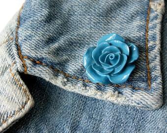 Blue Rose Lapel Pin (large)