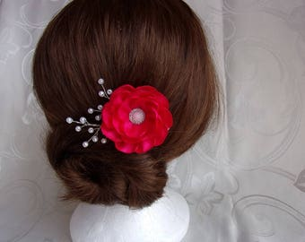 Wedding Barrette satin and pearls/hair clip with flower kanzashi/hot pink alligator clip