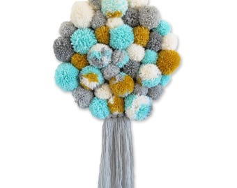 weaving wall round PomPoms blue grey mustard yellow mint white scoundrel Mini