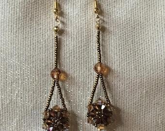 Mini Crystal Flower Drop Beaded Earrings