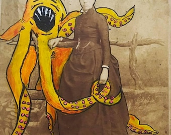 "Antique Photo Painting - ""Hand in Tentacle"""