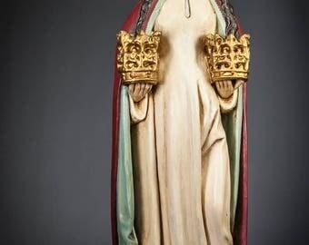 "24.4"" RARE Saint Godelieve Antique Plaster Figurine Godeleva Statue Godelina Figure"