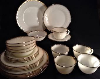FIRE KING Gold Swirl, Fire King Golden Anniversary, Full Service for 5!!  1950s Vintage Milkglass Set, 22K Gold Trim, Wedding Table Dishes
