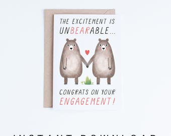 Printable Engagement Cards, Digital Wedding Cards, Congrats Card Instant Download, Funny Engagement Card, Gay, Lesbian, Straight, Bears
