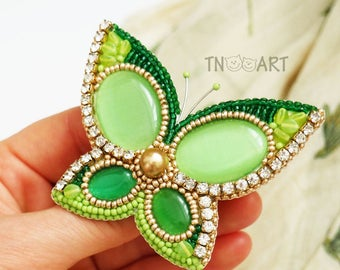 Green & Gold Butterfly Brooch handmade elegant jewelry seed beads rhinestones Bead Embroidered Pin