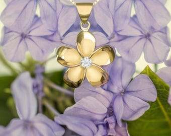 Plumeria Gold Plated CZ Necklace Pendant