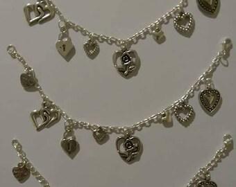 Handmade Rose Heart charm bracelet