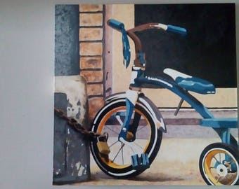 Original Oil painting - Rough Neighbourhood Tricycle - Blue