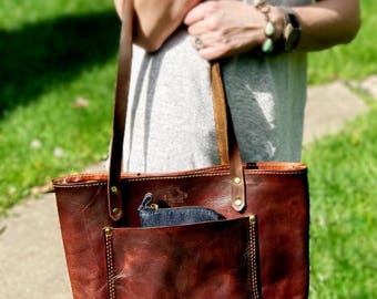Leather Tote, Handmade, Veg Tan Leather, Hand Dyed, Made in the USA