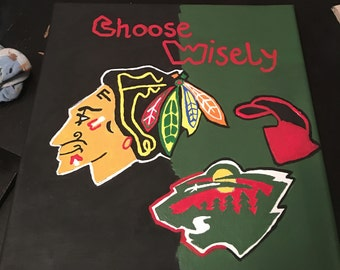 wild and blackhawks rival painting