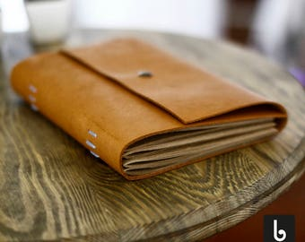 Liber Leather Notebook by Bobincraft | Brown Craft Paper | Hand Stitched | Journal | Men & Women | Literature, Art Enthusiastic | A5 size