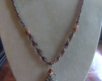 Hemp Necklaces With Pyrite Pendant