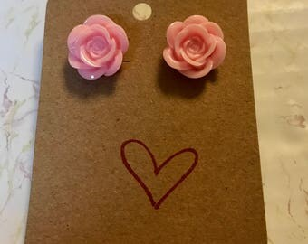 Light Pink Rose Post Earrings