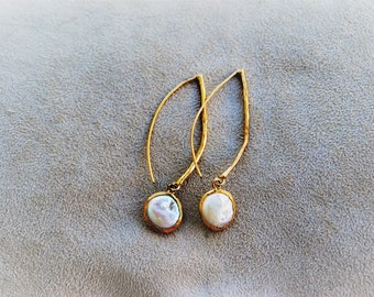 Stainless steel and white freshwater pearls earrings, handmade