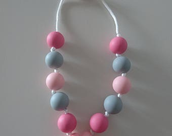 Silicone baby teething necklace pink flower