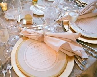 Round Gold Wedding Menu