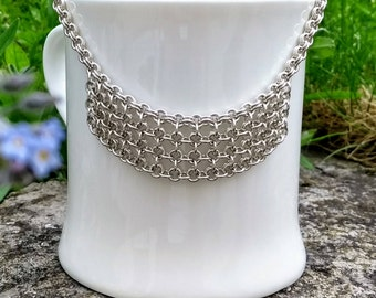 Sterling Silver Chain Maille Necklace with front detail