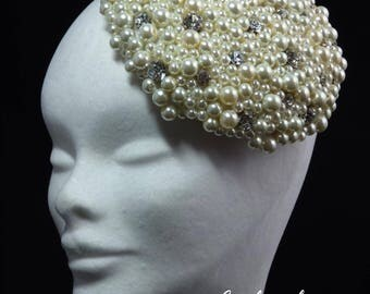 Bridal Fascinator/ Pearl Bead And Swarovski Crystal Fascinator/ Bridal Hat/ Beaded Fascinator/ Wedding Headpiece/ Ivory Fascinator/ Diamonte