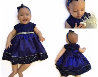 Flower girl dress, first birthday dress, toddler, baby, girls, formal dress, tea party dress, royal blue, party dress, sequin, satin dress