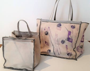 canvas and nylon accessories bags hand painted or with digital textures