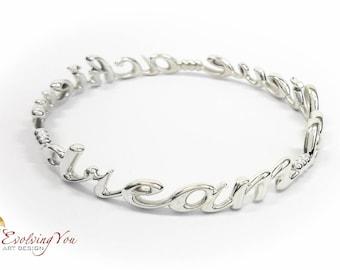 Silver Bracelet Dream Believe Achieve