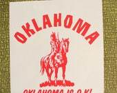 Oklahoma is O.K.! heat press transfer iron on for t-shirts, sweatshirts
