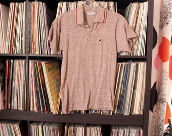 1950s 60s boys polo shirt . heather brown knit sport shirt by Campus . boys size youth small . vintage childrens clothing
