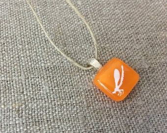 Damselfly Pendant Glass Jewelry Necklace of Fused Glass by Happy Owl - insect white on orange cute kids jewelry