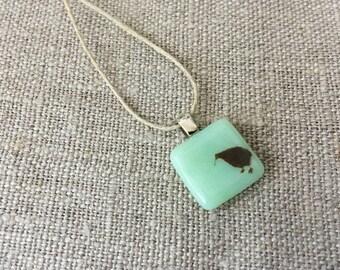 Kiwi bird Pendant Glass Jewelry Necklace of Fused Glass by Happy Owl - New Zealand bird mint green cute kids jewelry