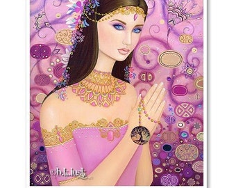 Signed 8 x 10 Print The Beautiful Prayer Art Pink Nouveau Goddess Diva Mother Nature B. K . Lusk
