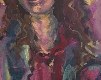 Violet Madonna expressionist figure study in purples blues and yellows