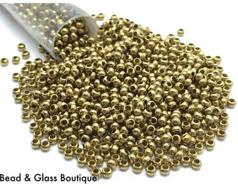 Heavy Metal Seed Bead, 11/0, Brass, approx 50 grams