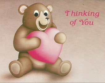 Vintage 1980s Postcard Thinking of You Cute Teddy Bear Heart Valentine Love Sweet Super Retro Card Photochrome Era Postally Unused