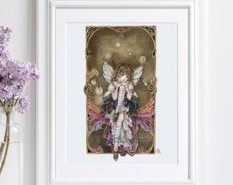 Steampunk art, anime fairy, art print poster, illustration, anime art, gothic lolita, Gears and Glass, 8x10
