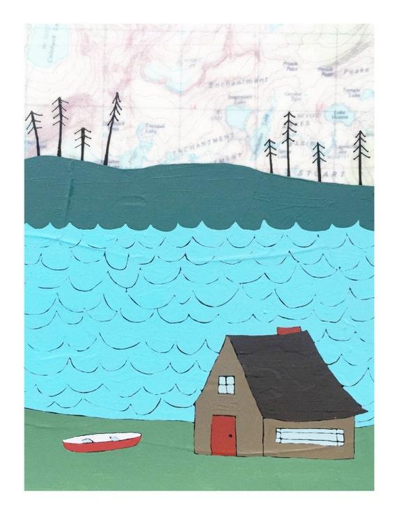 NEW // Lake Cabin Card // Cute Everyday Card // Map Card // Friendship Card // Housewarming Card // Blank Card // Rachel Austin Cards