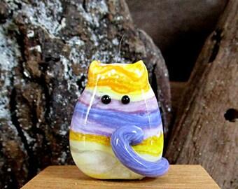 Handmade Lampwork Easter Egg Cat Bead Focal - Becky FatCat