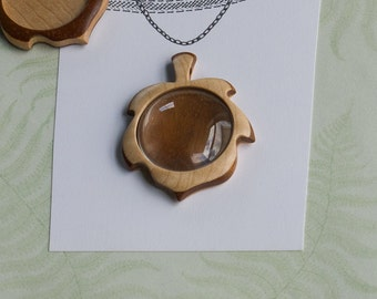 Finished pendant blank setting original design - Maple and Mahogany - 30 mm - (G63p-MpM)