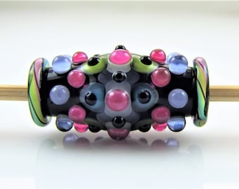 Spots and Dots Lampwork Glass Focal Bead