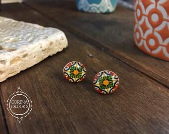 Portugal, Portuguese tile design post earrings, Colorful earrings, Iberian, stud earrings, ethnic earrings