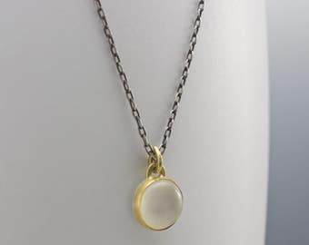Cat's Eye Moonstone Pendant Necklace - Bezel Set Cabochon Gemstone - 18 Karat Yellow Gold and Sterling - One of a Kind Artisan Jewelry