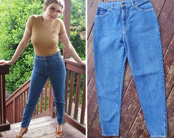 Light BLUE 1980's 90's Vintage High Waist Skinny Jeans with Tapered Zip Ankles // waist 29 30 Small Medium// by British RAJ