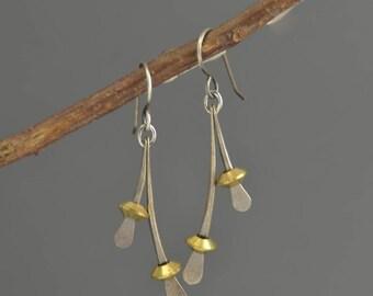 Silver earrings, mixed metal earrings, sterling silver jewelry, dangle earrings, brass, hand forged, wishbone, metalwork, metalsmith, metal