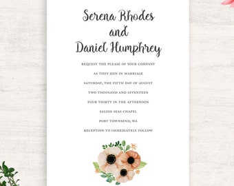 Peach and Green Wedding Invitations / Floral Wedding / Botanical wedding / Printable invitations / Print at Home / Summer Wedding