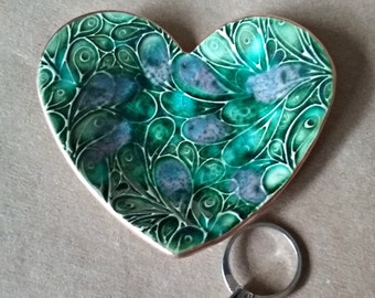 Ceramic Heart Ring Dish Peacock green gold edged engagement ring dish Valentine's Day