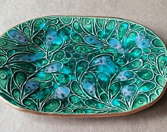 Ceramic Trinket Dish Vanity Tray  Peacock Green edged in gold