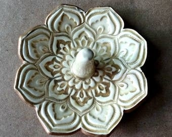 Ceramic Lotus Ring Holder Bowl Sepia TEA STAINED COLOR edged in gold