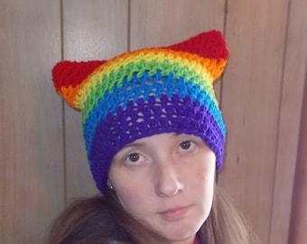 Purrfect Kitty Ear Hat-Pussy Hat-Rainbow-Chakra-Women Size