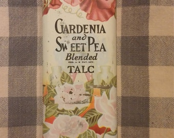 Vintage Tin, Gardenia and Sweet Pea Blended Talc Flowered Tin