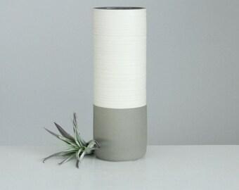 Grey Porcelain Vase, Groove Cylinder Vase in Matte Grey, Handmade Pottery Vase, Modern Ceramic Vase