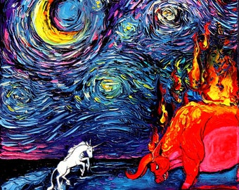 Unicorn Painting - The Last Unicorn Art - Oil Painting - Starry Night - original Art by Aja - 12x12 inches van Gogh Never Faced The Red Bull